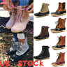 US Women Duck Boots High Top Lace Up Casual Shoes Martin Waterproof Rain Booties
