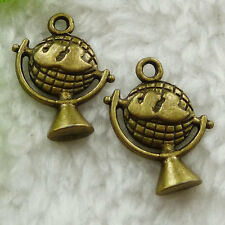 Free Ship 80 pcs bronze plated globe charms 21x15mm #1548