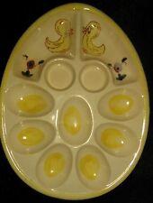 VINTAGE Deviled Egg CERAMIC Plate EASTER EGG Holder w/ Hand Painted Chick Design