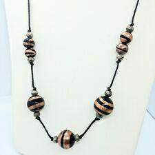 "Art Glass Bead Necklace Black Cord 18"" Copper Black Beads Artsy Boho Euc"
