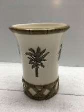 JF Bath Ceramic Tropical Palm Tree Tumbler Cup  Bamboo Design
