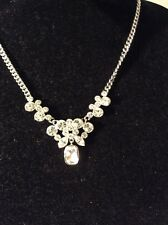 Pendant Necklace Item 303 Gn $68 Givenchy Silver Tone & Crystal