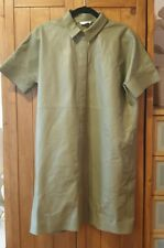 COS 100% Leather Khaki Shirt Dress Excellent Condition size SMALL