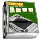 10x15 Heavy Duty Poly Tarp Canopy Tent Cover Shelter Reinforced Tarpaulin 10mil