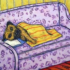border terrier napping Animal dog art tile coaster