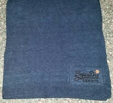 "NWT Super Dry Mens Long Cold Weather 39"" SCARF Blue 100% Cotton Knit"