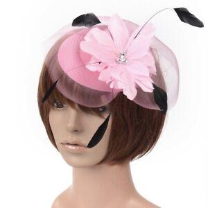 Women Handmade Pillbox Hat Fascinator Hair Clip Veil Crystal Party Wedding Gift