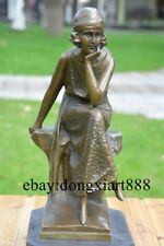 38 CM Western Art Deco Pure Bronze Women Happy Little Girl Lady Maiden Sculpture