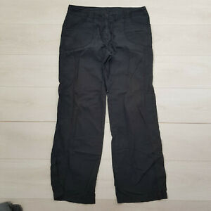 M&S Casual Trousers Size 16 W34 L32 Black Pockets Straight Cotton High Rise