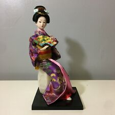 Japanese Geisha Ancient Singer Dancer Kimono Doll Statue- Red