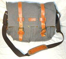Kattee Canvas & Leather Messenger Bag Gray