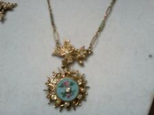 blue painted necklace and earing set with pearls and stones vintage