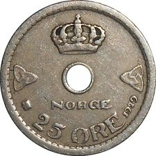Norway Norvège Norge 25 Ore 1929 KM#384 Haakon VII (4122) key date, mint:800,000