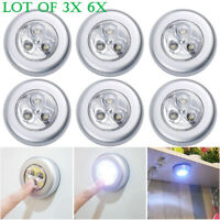 3 LED Home Wardrobe Touch Lights Push Tap Stick On Click Lamps Battery Powered