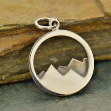 Sterling Silver Mountain Range Charm Necklace Travel Ski Fresh Air Pendant 1532