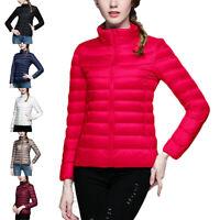 Women's Winter Duck Down Jacket Stand Collar Puffer Coat Zip Up Outwear Overcoat