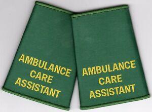 Woven Ambulance Care Assistant Epaulette Slider Pair Green Epaulettes