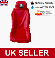 BMW PREMIUM CAR SEAT COVER PROTECTOR 100% WATERPROOF / HEAVY DUTY /  RED