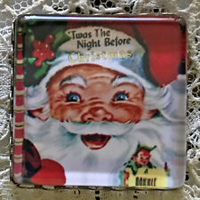 """NIGHT BEFORE CHRISTMAS 1"""" Square Glass  BUTTON Vintage Book Cover Santa Claus"""