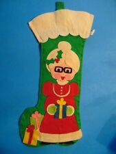 Felt Christmas Mrs Santa Stocking Vintage Kitsch Jolaynes 1976-77  Mrs Claus