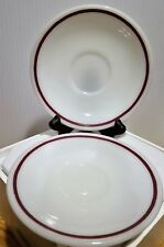 """Corning Cup Saucers Dinnerware Brown Stripe Made in U.S.A. 5.5"""" across LOT OF 2"""