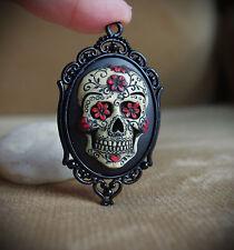 Red & Black Sugar Skull Calavera Day of the Dead Dia De Los Muertos Necklace