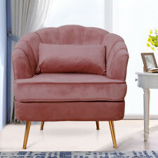 Blush Pink Velvet Armchair Curve Seating Sofa Luxury Metal Legs Bedroom Lounge