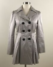 Twentyone Womens Small Petite Gold Beige Shimmer Fitted LIned Trench Coat