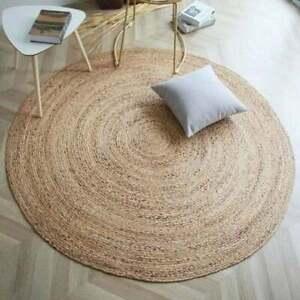 Rug Jute Natural Round 100%Handmade Carpet Reversible Braided Modern Rustic Look