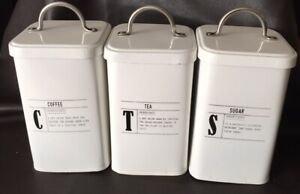 Coffee Tea Sugar Tin Storage Canisters White With Black Lettering