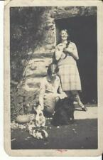 LADIES OUTSIDE THE HOUSE WITH CATS & DOG  -  VINTAGE PHOTO POSTCARD