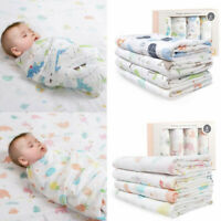 4 Packs Baby Newborn Muslin Cotton Hospital Receiving Blanket Swaddle Wrap Gift