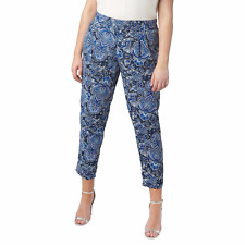 Evans Blue Printed Tapered Trousers Size UK 30 rrp £30 DH078 HH 12