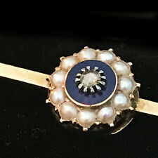 Enamel & Pearl brooch pin, C1860 Victorian 9ct, 9k, 375 Gold Rose-cut Diamond,