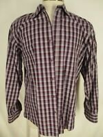 Bugatchi Uomo Mens Purple Check Long Sleeve Cotton Shirt XL