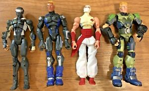 "Lot of 4 GI Joe Sigma 6 Figurines Duke, Snake Eyes, Cobra Ninja, 8"" Tall Figures"