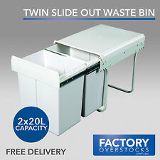 40L Twin Slide Garbage Waste Rubbish Bin Pull Out Kitchen Dual Compartment 2x20L