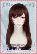 Free Cap +Track NO DVA D.Va Anime Game Cosplay Costume Wig A01