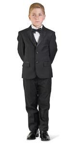 Boy Suit Tuxedo Black 5 Piece Set Satin Details Kid Dress Formal Wedding AZARMAN