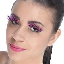 Faux cils plumes noires à pois roses orignaux burlesques pin-up spectacles sexy