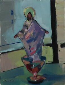 JOSE TRUJILLO OIL PAINTING EXPRESSIONISM Surrealist Jesus In Glass MODERN ART