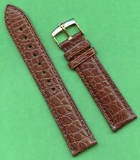 Véritable Rolex Boucle Doré & Bracelet Alligator Marron 19mm Extra Long