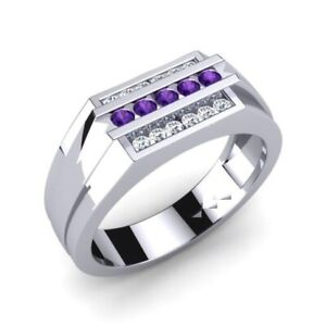 Three Row Square Design Wedding Special Ring For Men's in 925 Sterling Silver