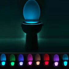 8 Colors LED Toilet Bowl Bathroom Light Motion Activated Seat Sensor Night Lamp