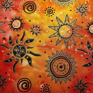 Celestial Batik Cotton Fabric Metallic Gold Suns & Stars on Fuchsia Orange Red
