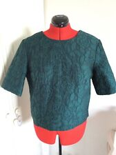 Dorothy Perkin Ladies Dark Green lace Effect Scoop neck Short Sleeve top size 16