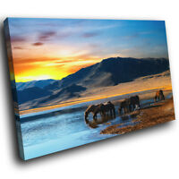 A283 Herd Horses Sunset Yellow Funky Animal Canvas Wall Art Large Picture Prints