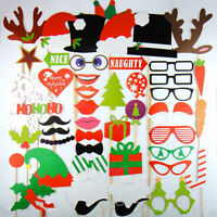 Christmas Photo Booth Props, 50 pcs, Attached NO DIY NEEDED, Ships Fast US