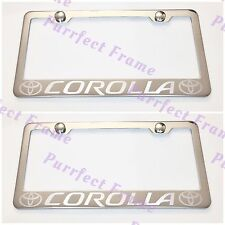 2X Toyota COROLLA LASER Style Stainless Steel License Plate Frame Rust Free WCap