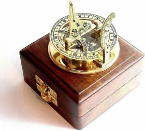 Antique  Sundial Solid Brass Pocket Compass - West London With Wooden Box
